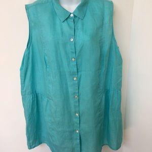 J.Jill Love Linen Blouse 2X 100% linen Teal Button